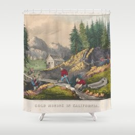 Vintage California Gold Rush Illustration (1871) Shower Curtain