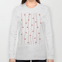 Pastel pink red abstract hand painted stripes stars Long Sleeve T-shirt