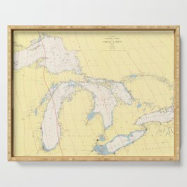 Vintage Map of The Great Lakes (1966) Serving Tray