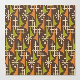 Mid Century Modern Atomic Wing Composition 235 Brown Orange and Charteuse Canvas Print