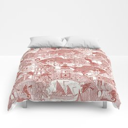 chinoiserie toile red Comforters