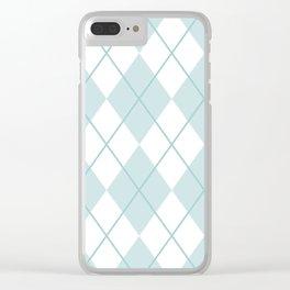 Blue Argyle Clear iPhone Case