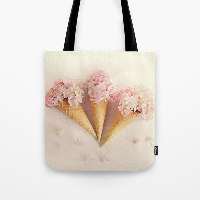 fresh flowers in ice cream cone Tote Bag