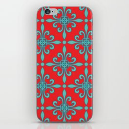 Fleur de Lis - Red & Turquoise iPhone Skin