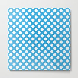 White Polka Dots with Blue Background Metal Print