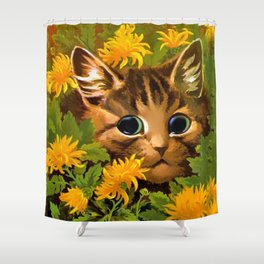 "Louis Wain's Cats ""Tabby in the Marigolds"" Shower Curtain"