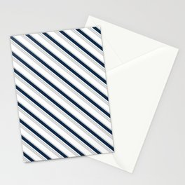 Diagonal Stripes in Navy and Gray on White Stationery Cards