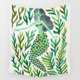 Kelp Forest Mermaid – Green Palette Wall Tapestry