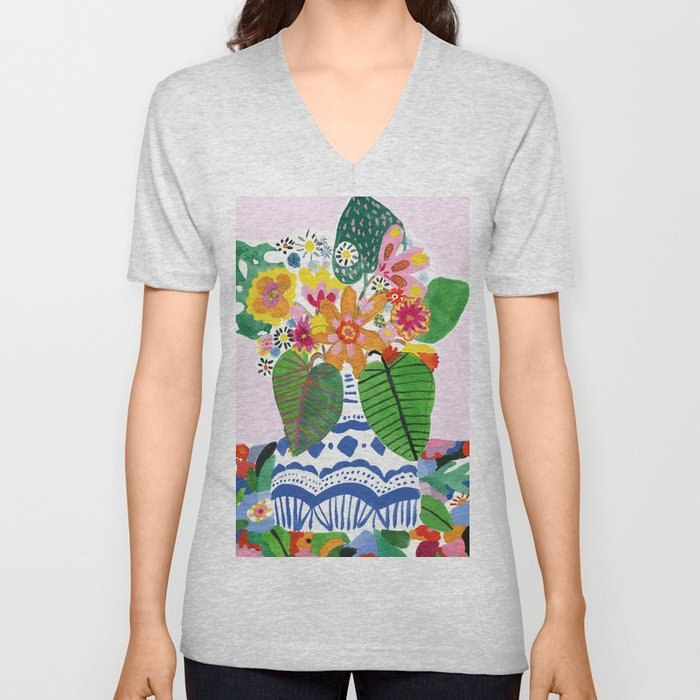 Abstract Flower Bouquet Unisex V-Neck