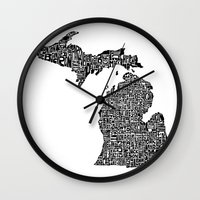 michigan Wall Clocks featuring Typographic Michigan by CAPow!