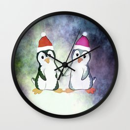 Penguin Love Christmas Wall Clock
