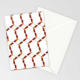 Red Japanese Maple Tree Samara Stitch Looking Pattern In Alternate Orientations Stationery Cards