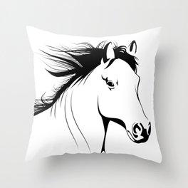 Simple Horse In Black & White Animal Art Throw Pillow