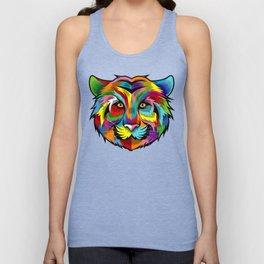 Colorful Tiger Face Multicolor Design Unisex Tank Top