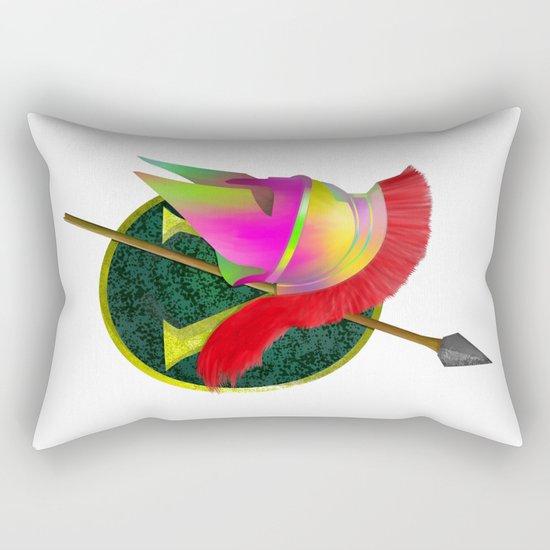 Spartan Helmet Colorful Rectangular Pillow