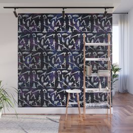 Yoga Asanas / Poses  pattern on Amethyst Wall Mural