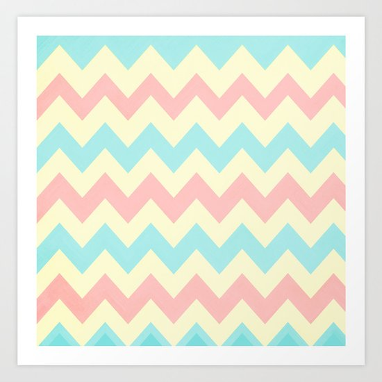 Summer Pink & Blue Chevron Art Print