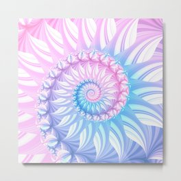 Striped Pastel Spiral in Pink, Blue and Purple Metal Print