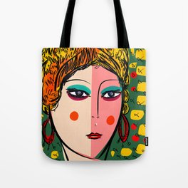 Green Portrait French Girl Art Tote Bag