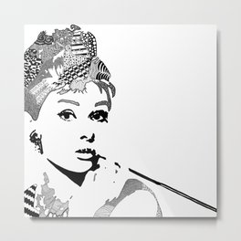 Audrey Hepburn - black and white Metal Print