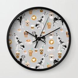 Great Dane coffee lover custom pet portraits by pet friendly dog breed illustration Wall Clock