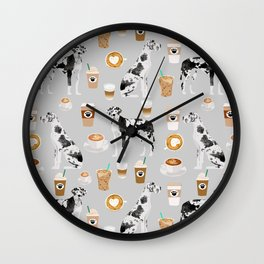 Great Dane coffee lover custom pet portraits by pet friendly dog breed illustration Wall Clock