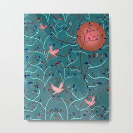 Art Nouveau Moon and Doves (Bronze and Blue) Metal Print
