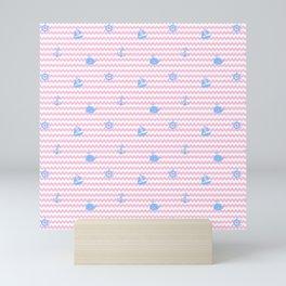 Nautical Blue Silhouettes on Pink Chevron Baby Girl Nursery Mini Art Print