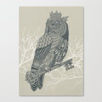 king Canvas Prints featuring Owl King by Rachel Caldwell