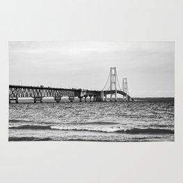 Mackinac Bridge. Black and white Rug