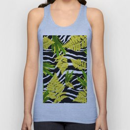ZEBRA PALMS AND FERNS YELLOW AND GREEN Unisex Tank Top