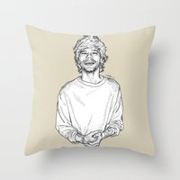 louis tomlinson Throw Pillows featuring Louis Tomlinson  by Cécile Pellerin
