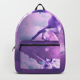 Kitty Cat Riding On Flying Space Galaxy Unicorn Backpack
