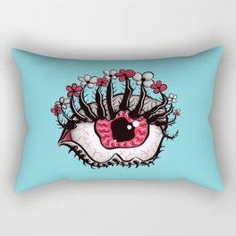 Eye Melt - Weird Red Eye With Flower Eyelashes Rectangular Pillow