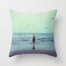 Woman on the Beach Throw Pillow