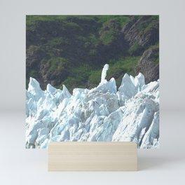Alaskan Blue Snow Glacier By Summer Green Hills Mini Art Print