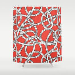 Red Rope Pattern Shower Curtain