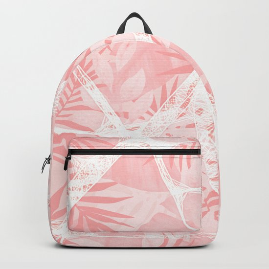 Abstract Soft Pink Tropical Design Backpack