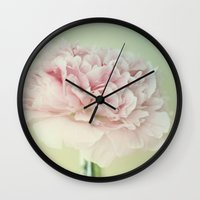 peony Wall Clocks featuring PEONY by Monika Strigel®