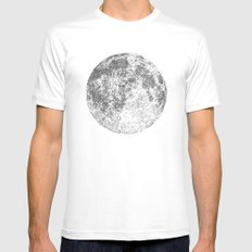 Moon White Mens Fitted Tee MEDIUM