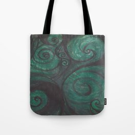 Swirl (black and green) Tote Bag