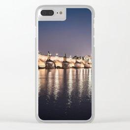Charles Bridge and Vltava River Clear iPhone Case