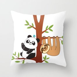 Cute Sloth & Panda Throw Pillow