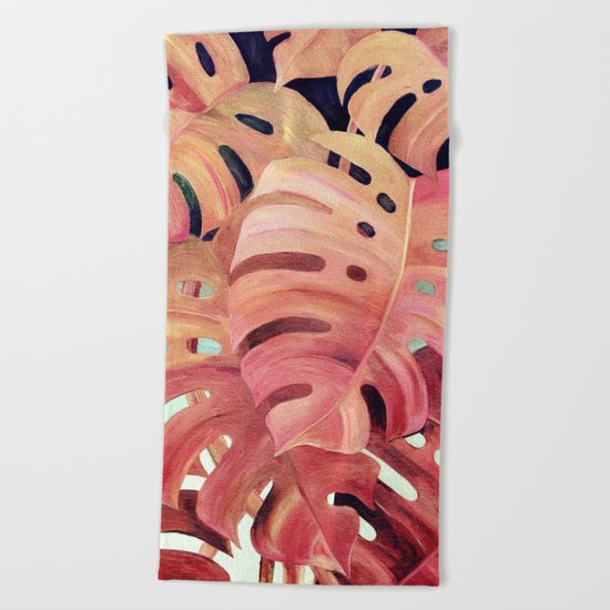 Monstera Love in Magenta and Coral - oil painting Beach Towel