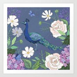 Peacock in a Botanical Garden Art Print