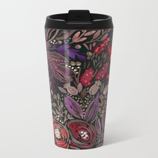 Watercolor floral illustration Metal Travel Mug