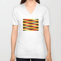diamonds V-neck T-shirts featuring multicolor diamond pattern by Gary Andrew Clarke