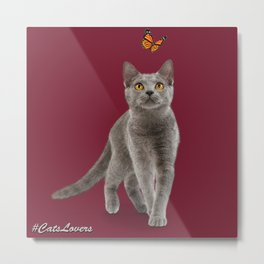 I Love My Cat Specialty The Gray One. Metal Print
