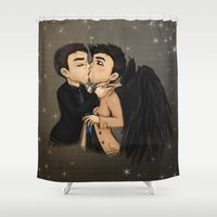 crowley Shower Curtains featuring Making Deals by Phantasmic Dream
