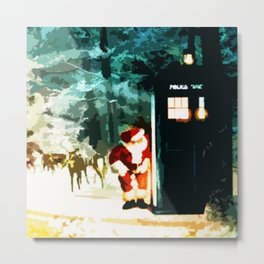 Tardis Santa In The Forest Metal Print